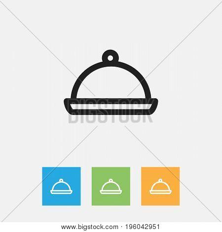Vector Illustration Of Meal Symbol On Salver Outline
