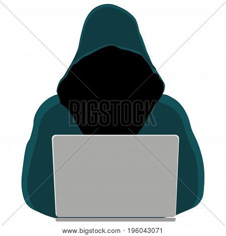 Hacker wearing hoodie in the hood stealing information with laptop. Vector illustration isolated on white background.