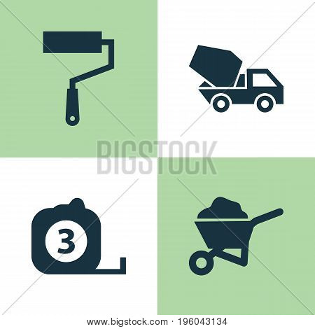 Architecture Icons Set. Collection Of Paint Roller, Measure Tool, Carry Cart And Other Elements