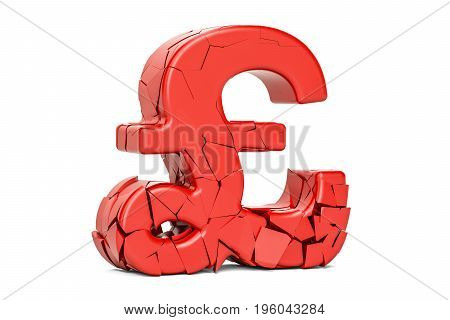 Broken pound sterling symbol 3D rendering isolated on white background