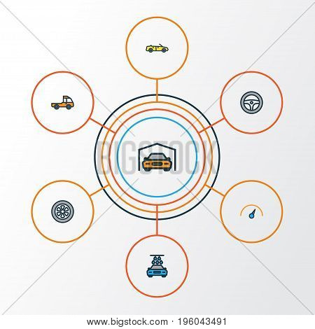 Auto Colorful Outline Icons Set. Collection Of Shed, Pickup, Washing And Other Elements