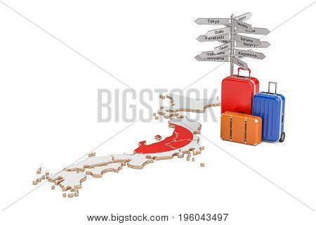 Japan travel concept. Suitcases with signpost on Japanese map 3D rendering