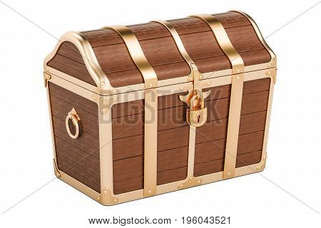 Treasure chest closed. 3D rendering isolated on white background