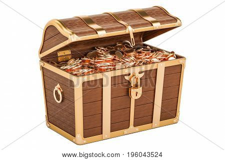 Treasure chest full of gold 3D rendering isolated on white background