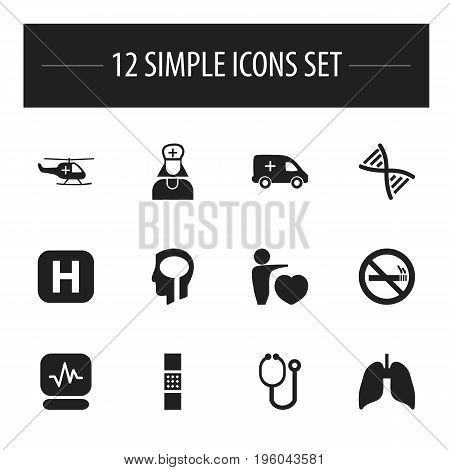 Set Of 12 Editable Clinic Icons. Includes Symbols Such As Stop Smoke, Clinic, Respiratory Organ And More
