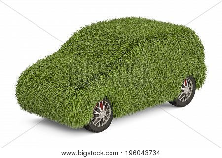 car from grass 3D rendering isolated on white background