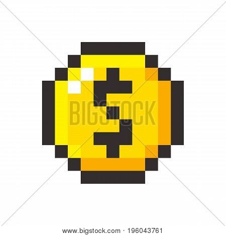 Pixel art golden coin dollar retro video game set