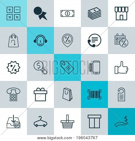 E-Commerce Icons Set. Collection Of Rebate Sign, Callcentre, Employee And Other Elements