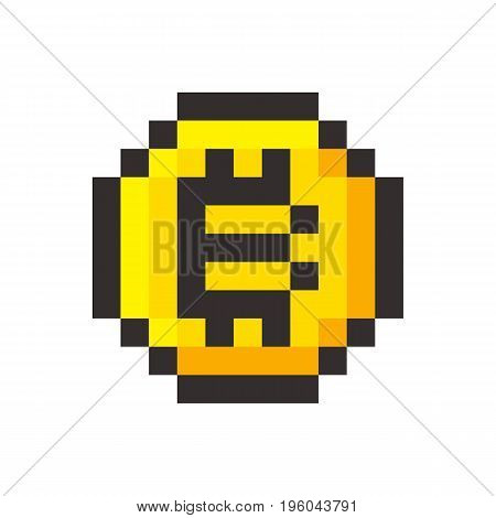 Pixel bitcoin cripto currency blockchain golden coin set