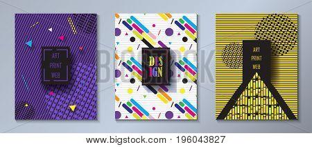 Set of Minimalist style design, Hipster brochure covers, dynamic futuristic pattern, Modern trendy design, Template Business brochure, poster, flyer design Vector illustration