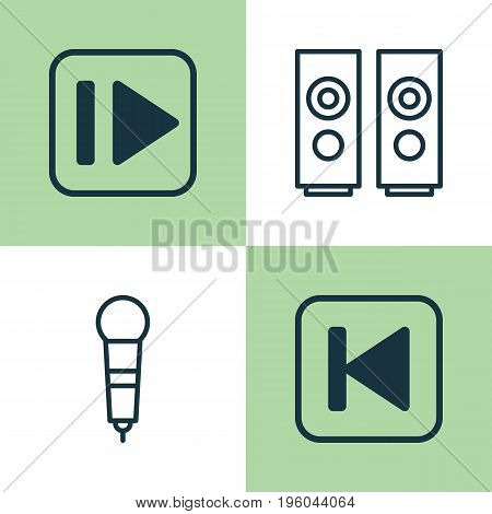 Music Icons Set. Collection Of Following Music, Microphone, Sound Box And Other Elements