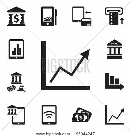 Set Of 12 Editable Finance Icons. Includes Symbols Such As Arrow, Introduce, Building And More