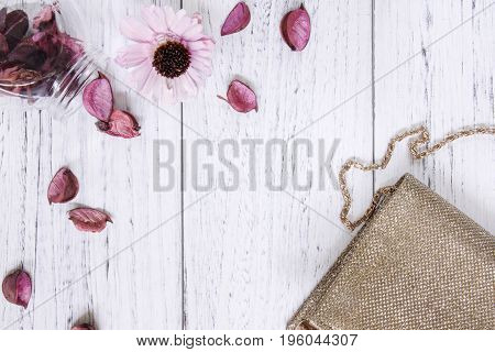 Flat Lay Stock Photography Vintage White Painted Wood Floor Purple Flower Petals And Glass Bottle Go