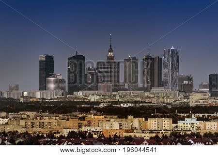 Warsaw city downtown panorama during sunset Poland