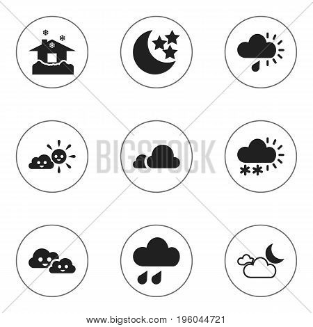 Set Of 9 Editable Air Icons. Includes Symbols Such As Precipitation, Shelter, Sunny Weather And More