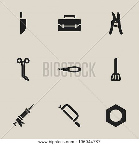 Set Of 9 Editable Equipment Icons. Includes Symbols Such As Knife Box, Sealant, Internal Screw And More