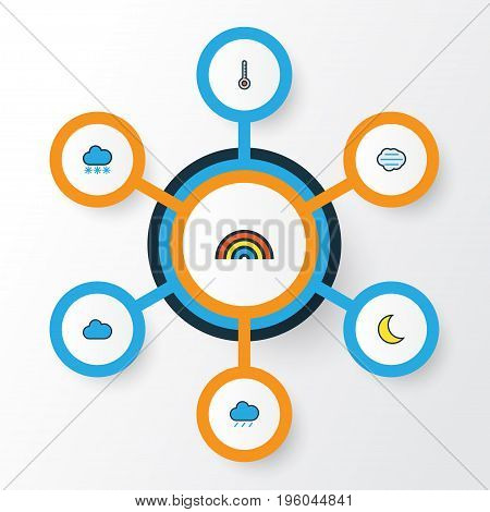 Air Colorful Outline Icons Set. Collection Of Moonbeam, Tempest, Scale And Other Elements