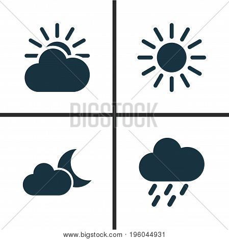 Climate Icons Set. Collection Of Sun, Douche, Sun-Cloud And Other Elements