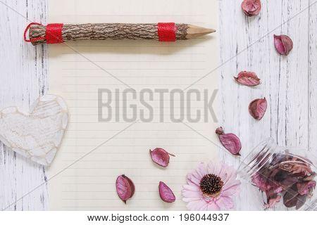 Flat Lay Stock Photography Purple Flower Petals Glass Bottle Heart Wood Craft Pencil