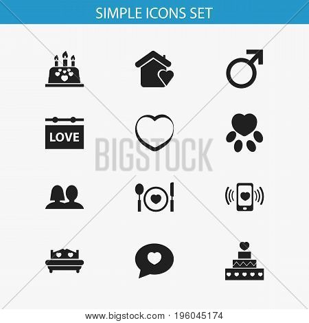 Set Of 12 Editable Passion Icons. Includes Symbols Such As Male Sign, Wedlock, Pastry And More