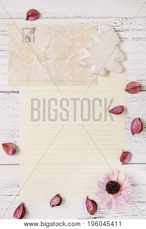 Flat Lay Stock Photography Purple Flower Petals Letter Envelope Paper Wood Christmas Tree Craft Deco