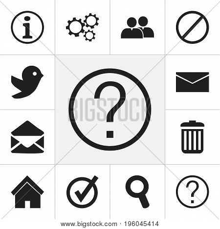 Set Of 12 Editable Network Icons. Includes Symbols Such As Magnifier, Faq, Group And More