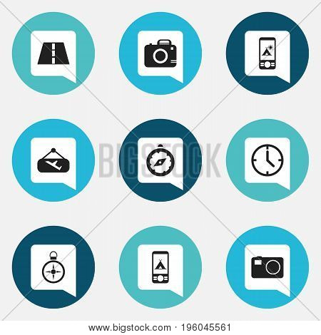 Set Of 9 Editable Travel Icons. Includes Symbols Such As Camera, Path, Photo Cam And More