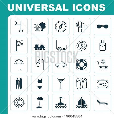 Tourism Icons Set. Collection Of Pin, Trip Handbag, Summer Glasses Elements