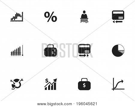 Set Of 12 Editable Logical Icons. Includes Symbols Such As Line Graph, Money Bag, Pay Redeem And More