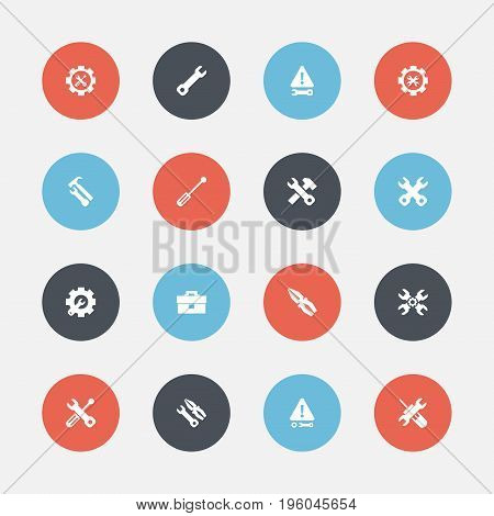 Set Of 16 Editable Repair Icons. Includes Symbols Such As Warning, Wrench Repair, Fix Tool And More