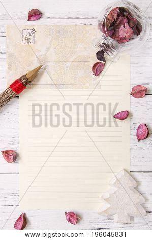 Flat Lay Stock Photography Purple Flower Petals Letter Envelope Paper Glass Bottle Wood Pencil Chris