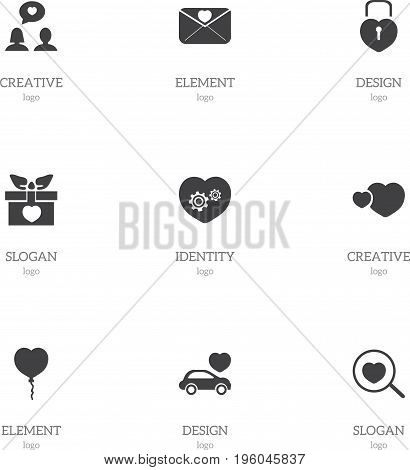 Set Of 9 Editable Passion Icons. Includes Symbols Such As Locked Heart, Car, Valentine Balloons And More