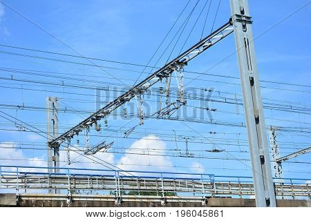 Electric wires on the railway for high-speed trains TGV