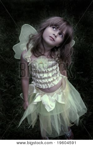 A soft focus image of a girl in a forest in a fairy costume