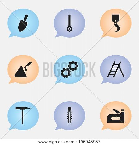 Set Of 9 Editable Apparatus Icons. Includes Symbols Such As Pickaxes, Spatula, Cogwheel And More