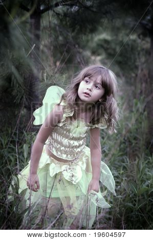A young girl in a fairy costume walking in a forest, soft-focus and vignetting on the edges, slight color desaturation