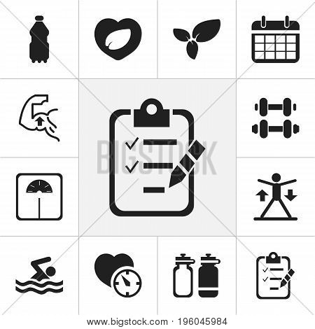 Set Of 12 Editable Sport Icons. Includes Symbols Such As Fitness Drink, Swimming, Questionnaire And More