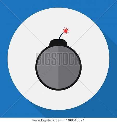Vector Illustration Of Safety Symbol On Bomb Flat Icon