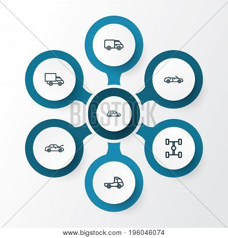 Car Outline Icons Set. Collection Of Car, Carcass, Truck And Other Elements