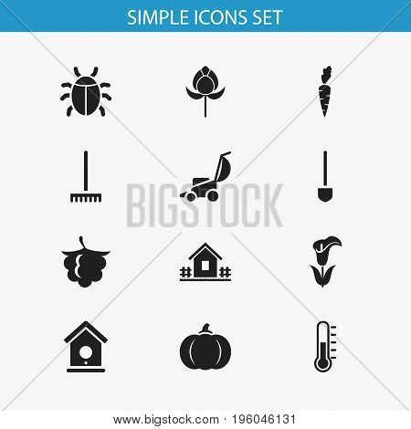 Set Of 12 Editable Planting Icons. Includes Symbols Such As Spade, Home With Fence, Birdhouse And More