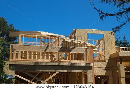 Construction site,  construction of new wooden house.
