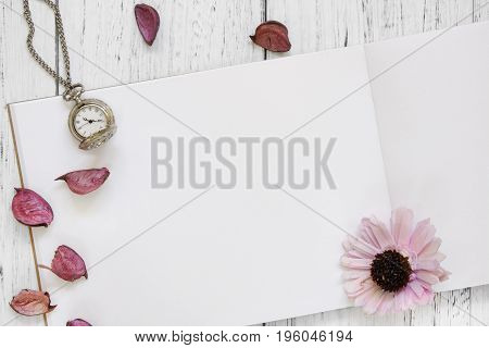 Stock Photography Flat Lay Vintage White Painted Wood Table Purple Flower Petals Pocket Clock