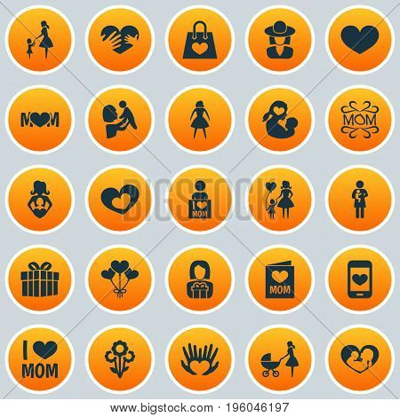 Mothers Day Icon Design Concept. Set Of 25 Such Elements As I Love Mom, Flowers And Emotion