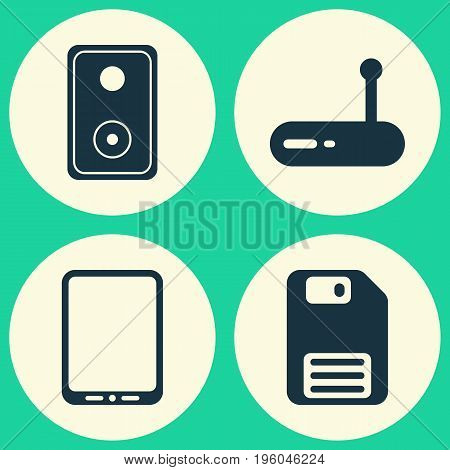 Hardware Icons Set. Collection Of Audio Device, Cellphone, Router And Other Elements