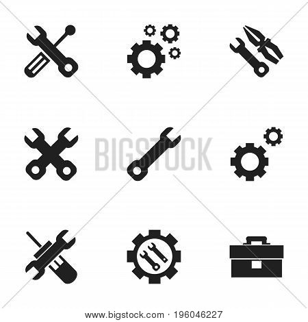 Set Of 9 Editable Repair Icons. Includes Symbols Such As Build Equipment, Portfolio, Wrench And More
