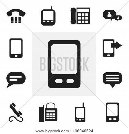 Set Of 12 Editable Phone Icons. Includes Symbols Such As Chatting, Comment, Call And More