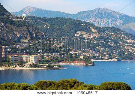 View of Monaco and France sea coast
