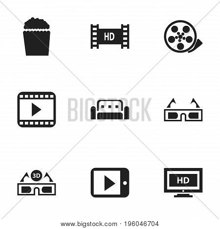 Set Of 9 Editable Filming Icons. Includes Symbols Such As Movie Player, Tape, 3D Vision And More