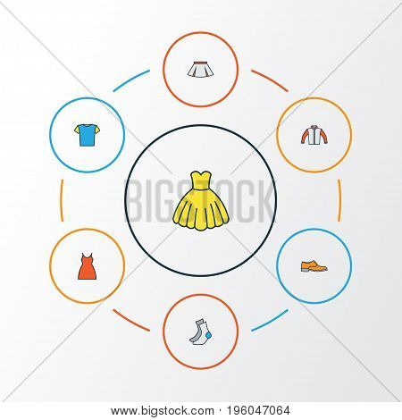 Garment Colorful Outline Icons Set. Collection Of Dress, Socks, Jacket And Other Elements
