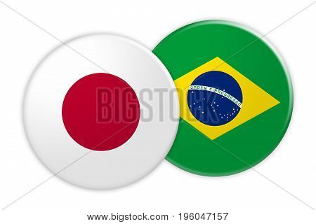 News Concept: Japan Flag Button On Brazil Flag Button 3d illustration on white background